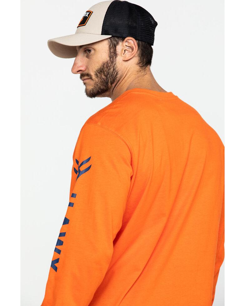 Hawx Men's Orange Logo Long Sleeve Work T-Shirt - Tall , Orange, hi-res