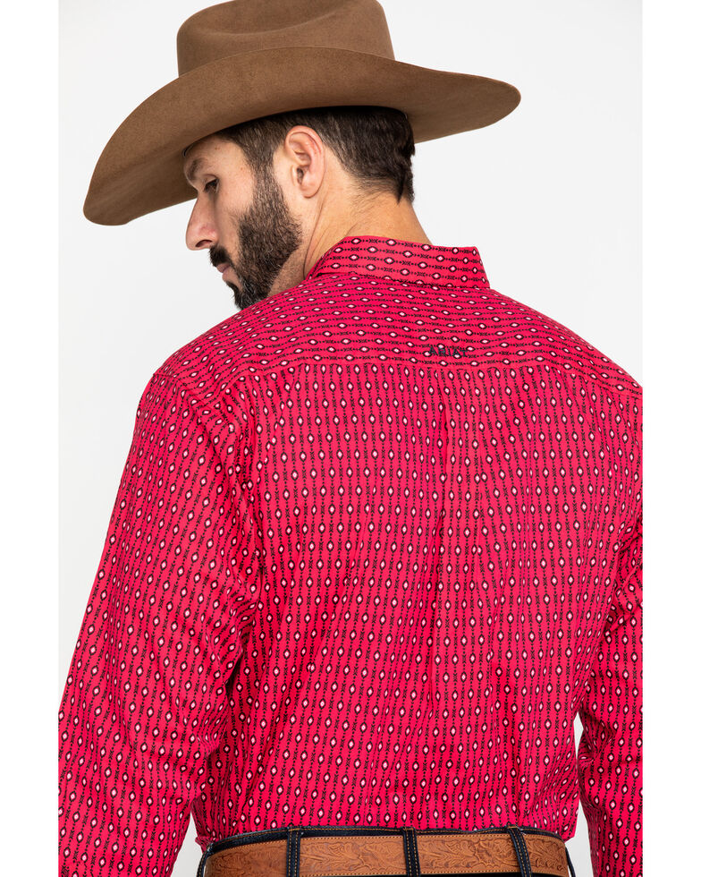 Ariat Men's Kilgore Aztec Print Long Sleeve Western Shirt , Red, hi-res