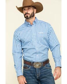 Ariat Men's Relentless Stout Stretch Small Plaid Long Sleeve Western Shirt , Blue, hi-res