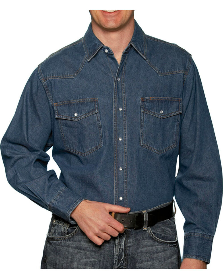 Ely Walker Mens Stonewashed Denim Shirt - Big & Tall, Navy, hi-res