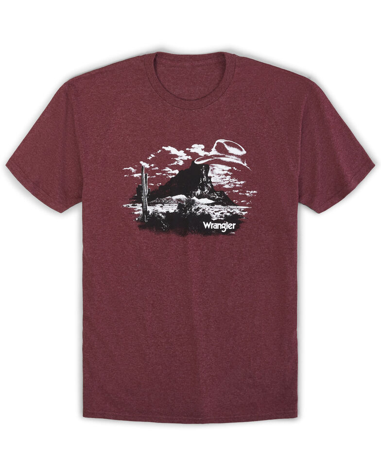 Wrangler Men's Burgundy Cowboy Landscape Graphic T-Shirt , Burgundy, hi-res