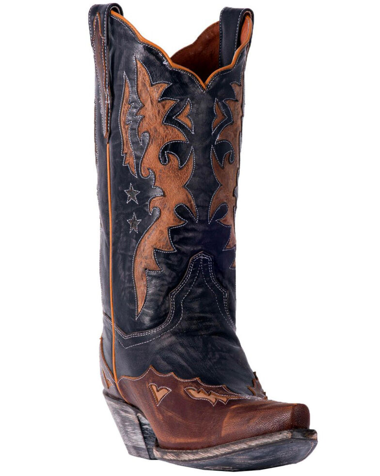 Dan Post Women's Amelia Chocolate Star Wingtip Cowgirl Boots - Snip Toe, Black, hi-res