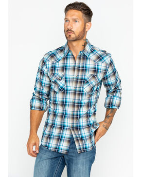 Wrangler Retro Men's Teal Large Plaid Long Sleeve Western Shirt, Teal, hi-res
