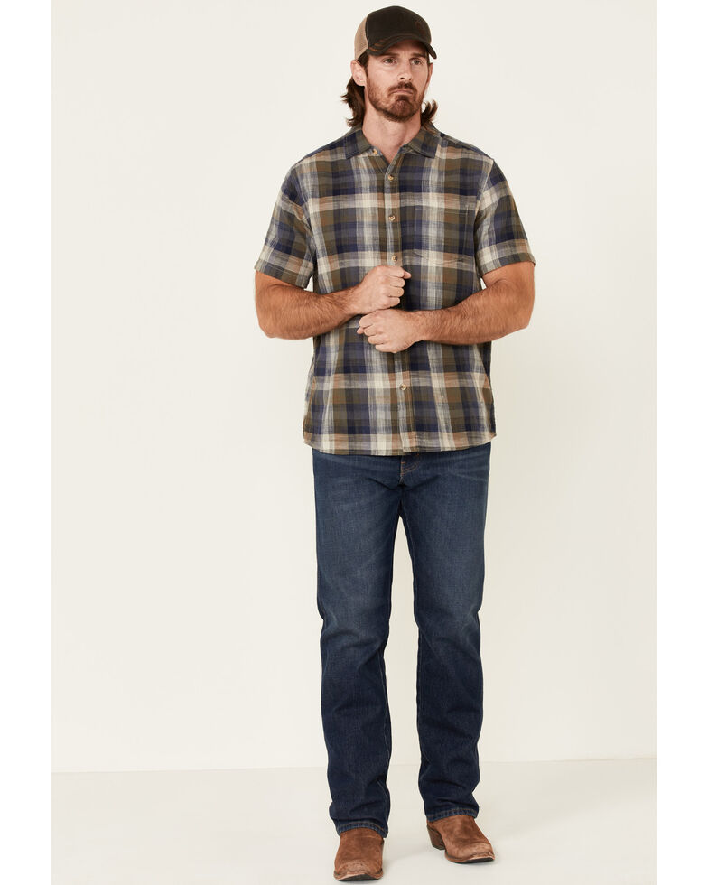 North River Men's Olive Large Plaid Short Sleeve Button-Down Western Shirt , Olive, hi-res