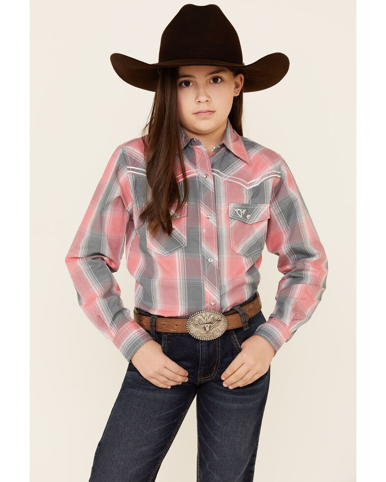 Cowgirl Hardware Girls' Pink Plaid Embroidered Long Sleeve Western Shirt , Peach, hi-res