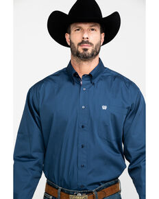 Cinch Men's Blue Solid Long Sleeve Western Shirt , Blue, hi-res