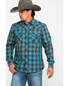 Wrangler Retro Men's Turquoise Plaid Long Sleeve Western Shirt  , Turquoise, hi-res