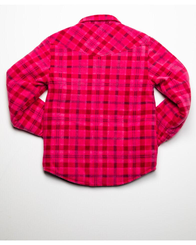 Roper Girls' Plaid Polar Fleece Jacket, Pink, hi-res