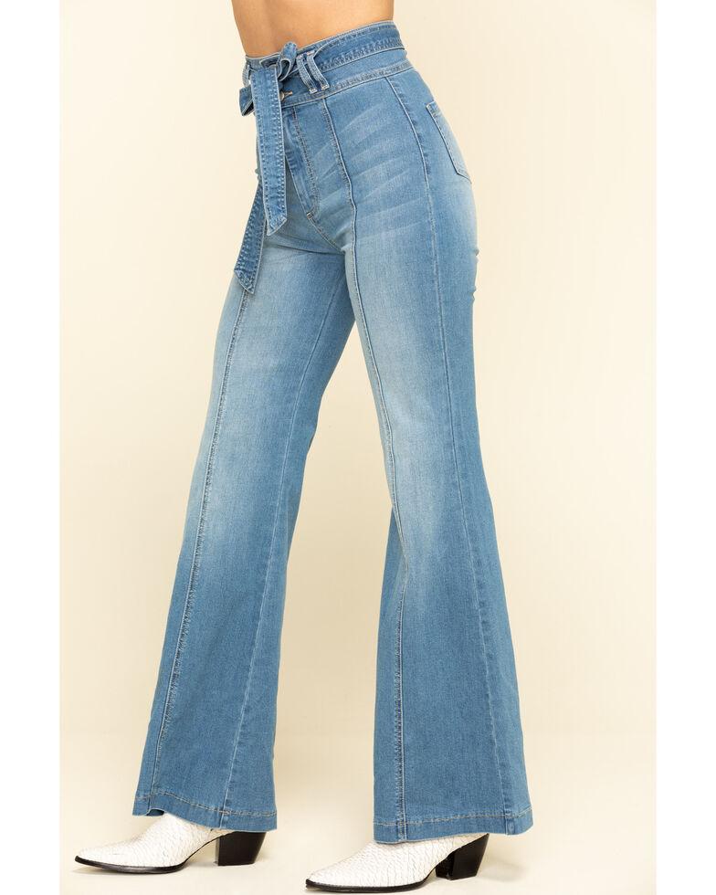 Flying Tomato Women's Denim Tie Front Flare Jeans , Blue, hi-res