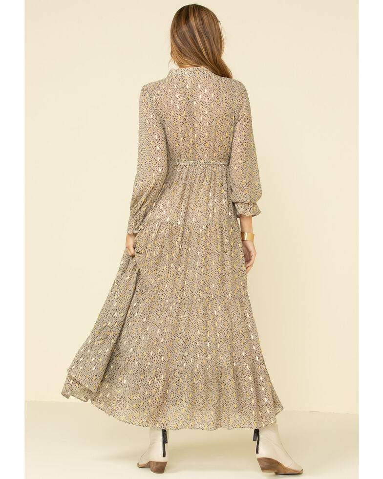 Elan Women's Allover Lurex Print Tiered Maxi Dress, Taupe, hi-res