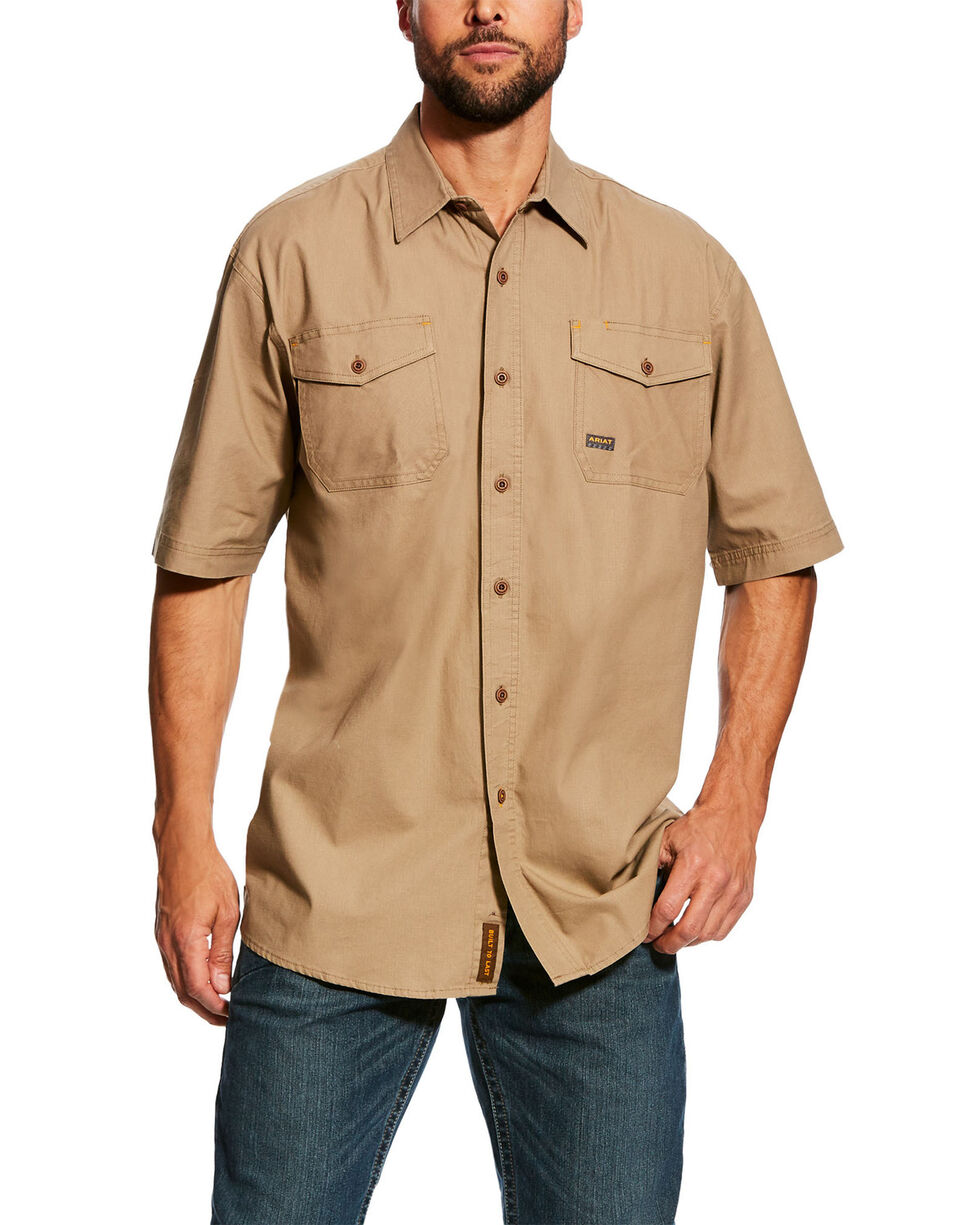 Ariat Men's Khaki Rebar Made Tough Vent Short Sleeve Work Shirt - Tall , Beige/khaki, hi-res
