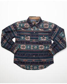 Roper Boys' Blue Aztec Print Long Sleeve Western Shirt , Blue, hi-res