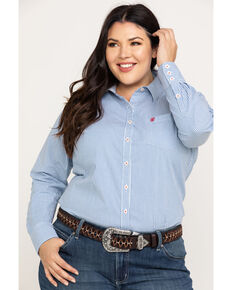 Ariat Women's Kirby Classic Blue Stripe Stretch Shirt - Plus, Multi, hi-res