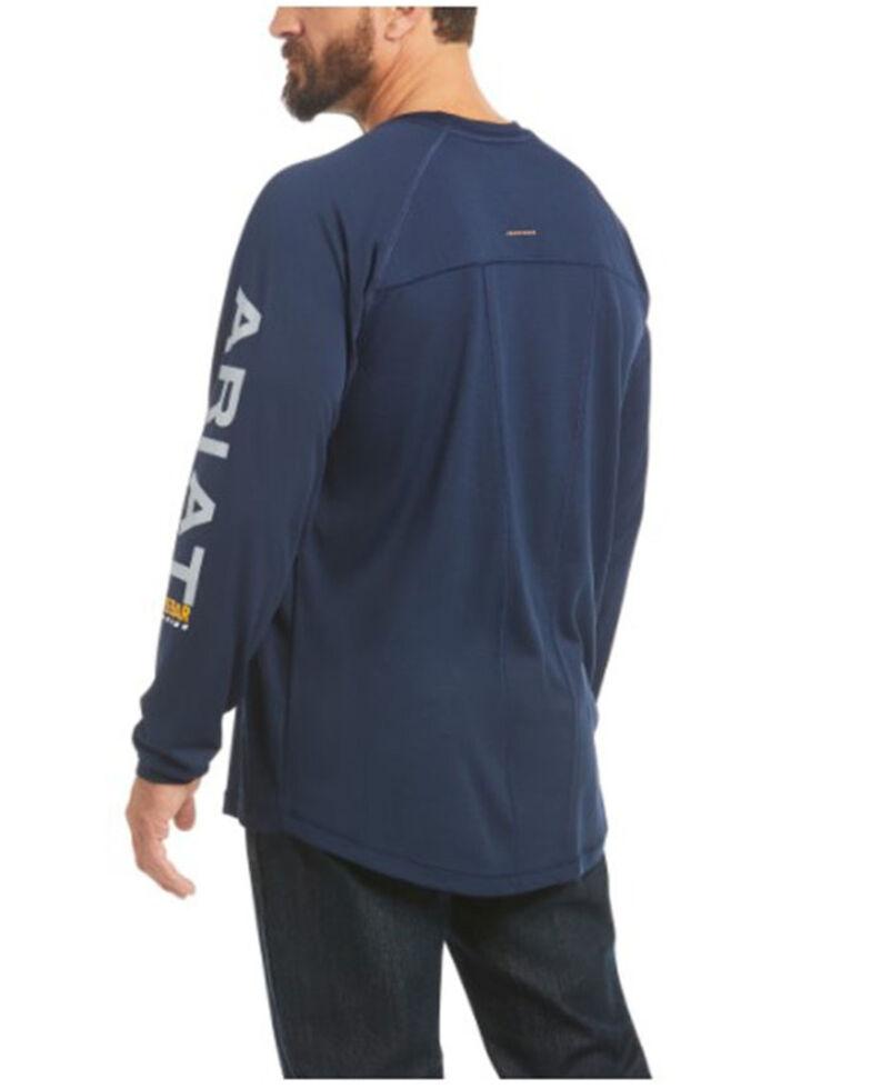Ariat Men's Navy Rebar Heat Fighter Long Sleeve Work Pocket T-Shirt - Big , Navy, hi-res