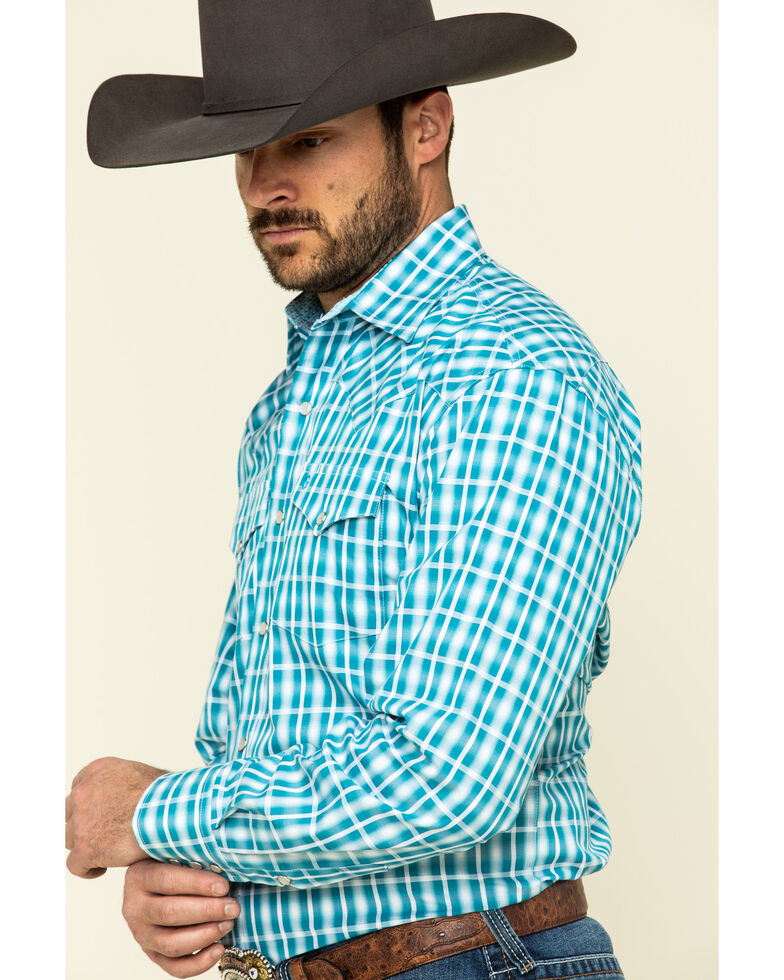 Stetson Men's Cross Walk Ombre Plaid Long Sleeve Western Shirt , Turquoise, hi-res