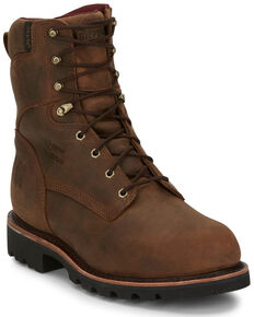 Chippewa Men's Waterproof Work Boots - Steel Toe, Brown, hi-res