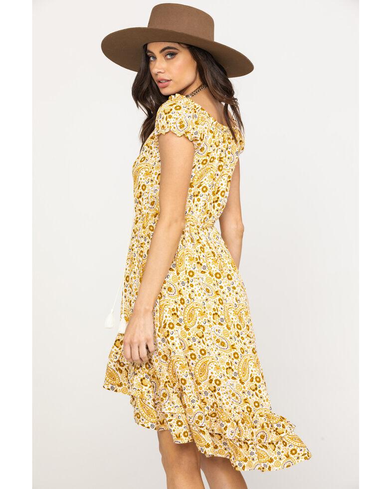 Shyanne Women's Mustard Paisley Patchwork Off Shoulder Dress, Dark Yellow, hi-res