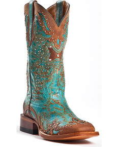 Johnny Ringo Women's Fancy Studded Wingtip Western Boots - Square Toe, Aqua, hi-res