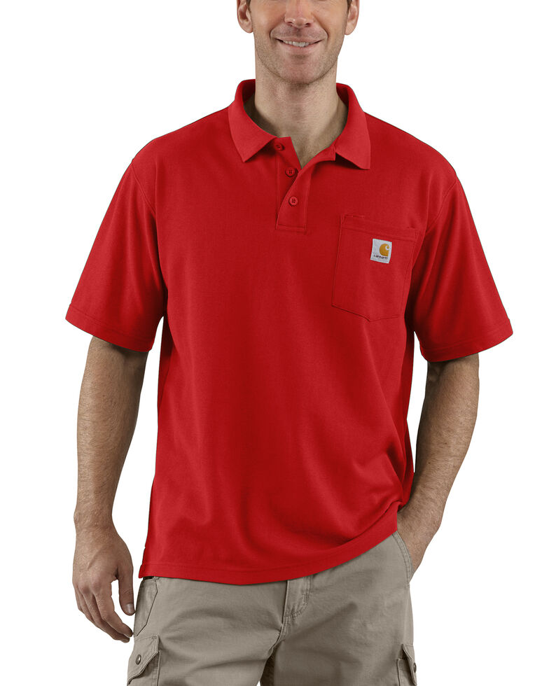 Carhartt Contractor's Work Pocket Polo Shirt - Big & Tall, Red, hi-res