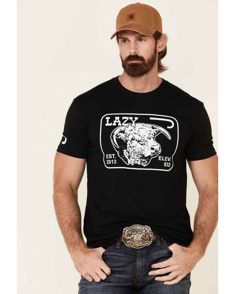 Lazy J Ranch Wear Men's Black Elevation Logo Graphic T-Shirt , Black, hi-res