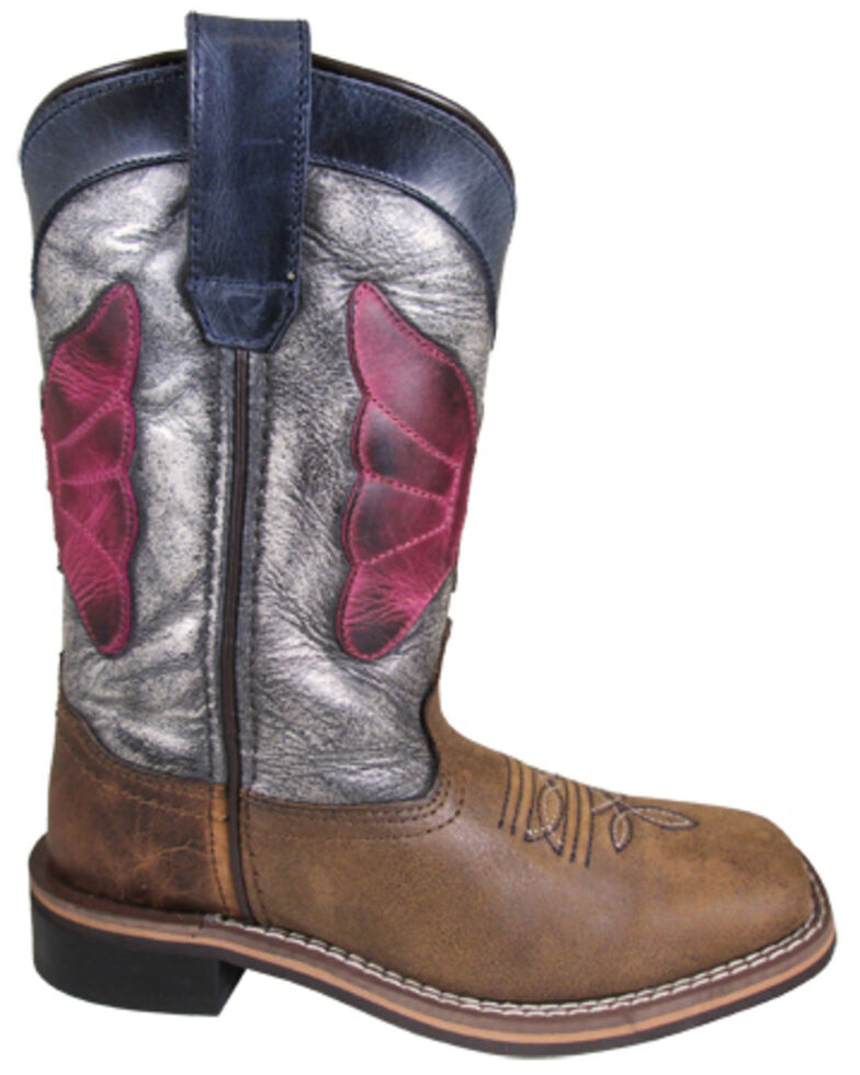 Smoky Mountain Girls' Riley Western Boots - Square Toe, Brown, hi-res