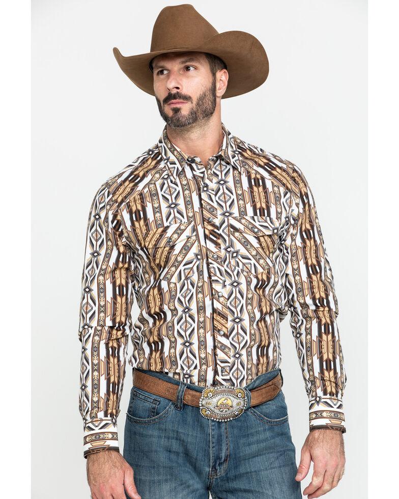 Rock & Roll Cowboy Men's Aztec Striped Long Sleeve Western Shirt , Tan, hi-res