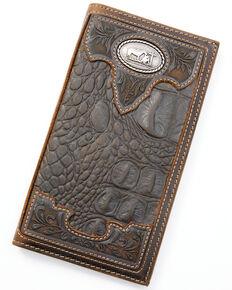 Cody James Men's Croc Embossed Rodeo Wallet, Chocolate, hi-res