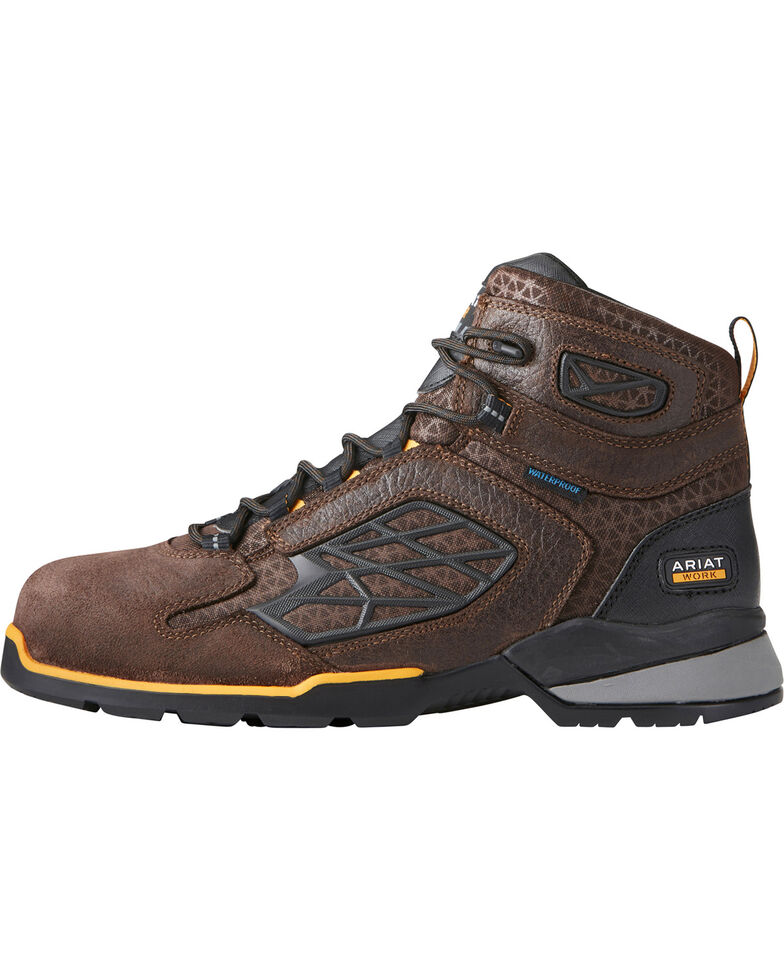 "Ariat Men's Rebar Flex 6"" H2O Brown Work Boots - Composite Toe, Chocolate, hi-res"