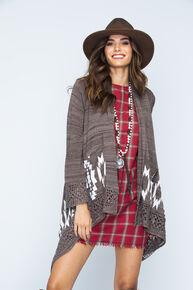 Ryan Michael Women's Sweater Cape, Coffee, hi-res