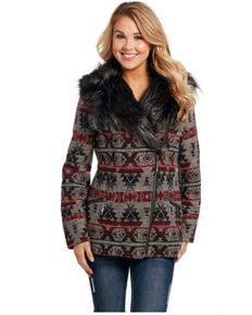 Cripple Creek Women's Wine Navajo Blanket Wrap Jacket, Wine, hi-res