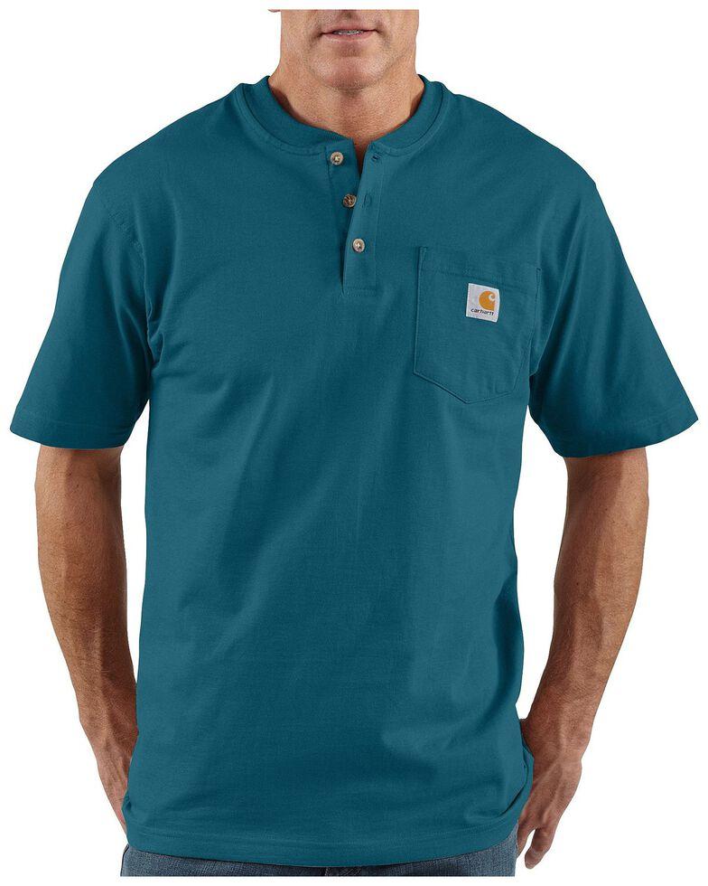 Carhartt Short Sleeve Henley Work Shirt - Big & Tall, Blue, hi-res