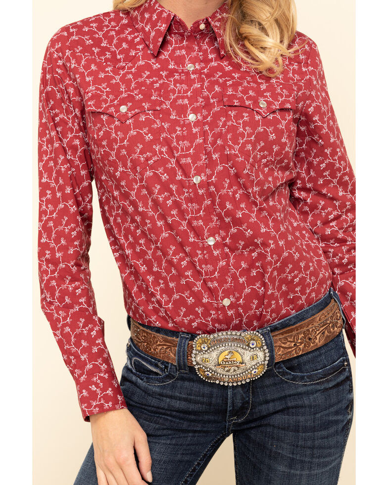 Wrangler Women's Red Floral Long Sleeve Western Shirt, Red, hi-res