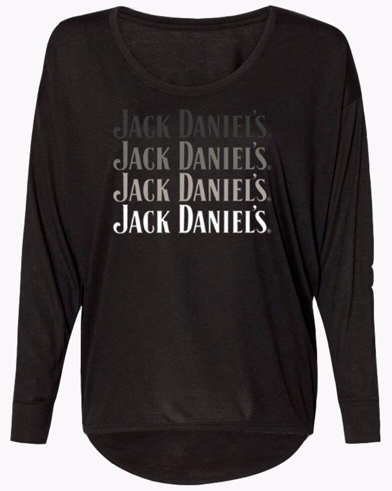 Jack Daniel's Women's Ombre Logo Long Sleeve Shirt, Black, hi-res