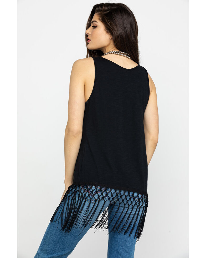 Ariat Women's This Town Cowgirl Fringe Tank, Black, hi-res