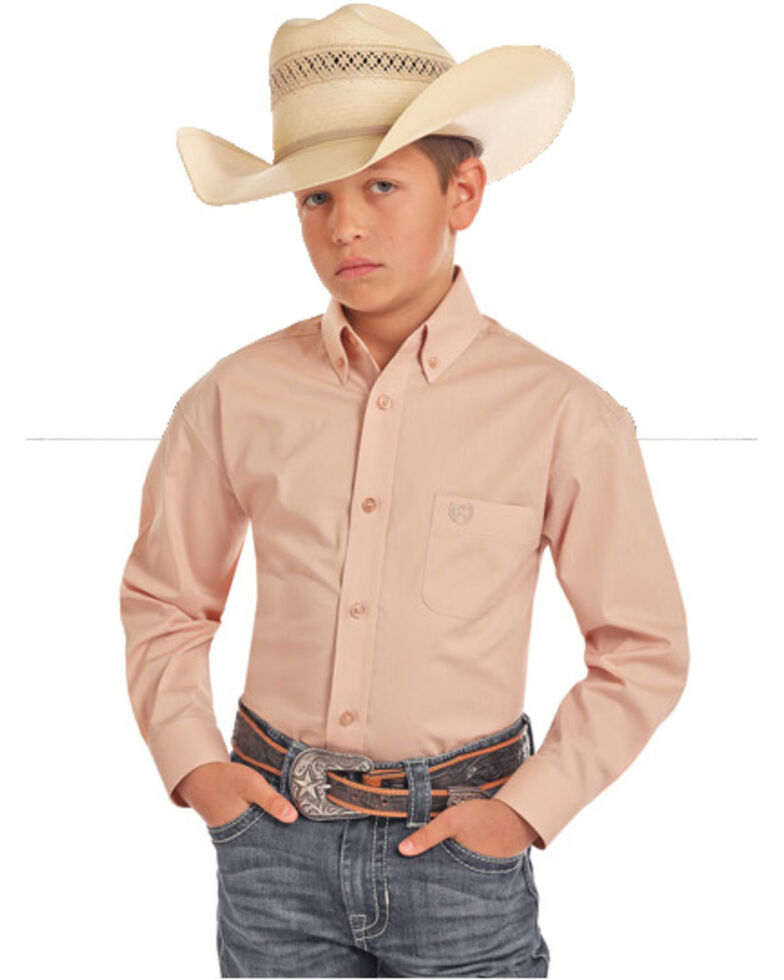 Panhandle Select Boys' Peach Solid Stretch Long Sleeve Western Shirt , Peach, hi-res