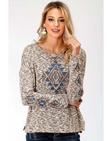 Studio West Women's Autumn Meadow Aztec Sweater, Brown, hi-res