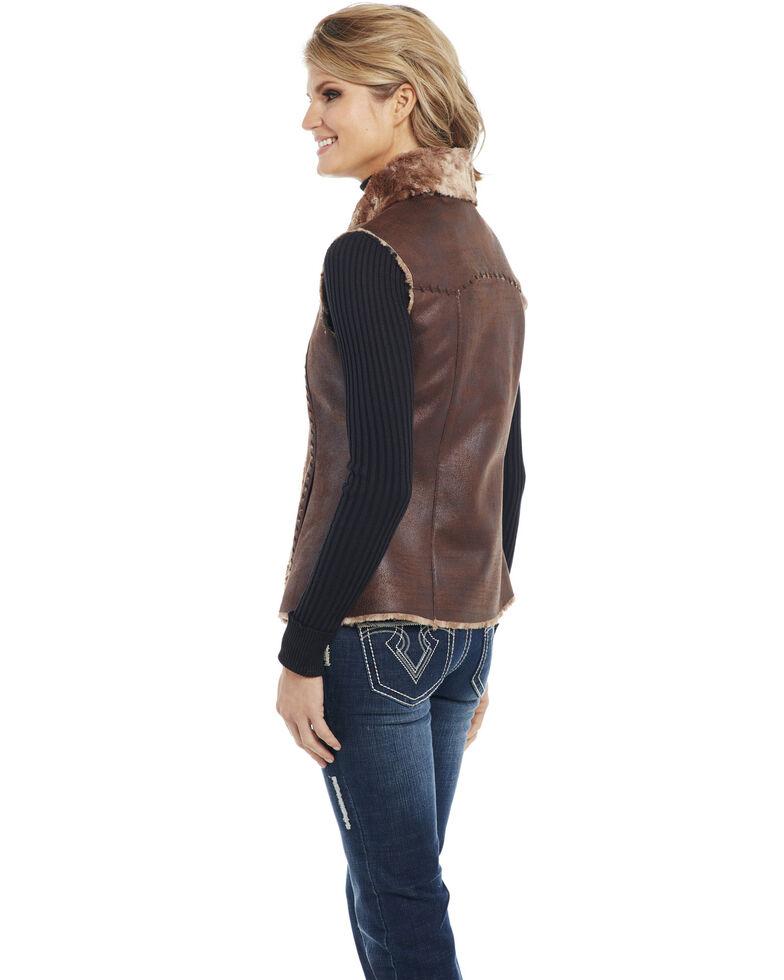 Cripple Creek Women's Open Front Faux Shearling Vest, Chestnut, hi-res