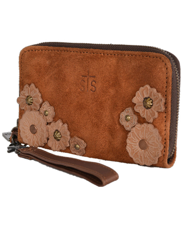 STS Ranchwear Women's Sheridan Flower Wristlet, Brown, hi-res
