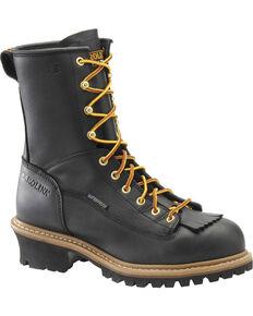 "Carolina Men's 8"" Waterproof Lace to Toe Logger Boots, Black, hi-res"