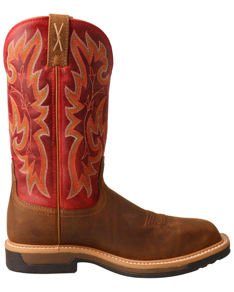 Twisted X Women's Lite Cowboy Waterproof Western Work Boots - Composite Toe, Red, hi-res