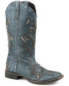 Roper Women's Sanded Blue Western Boots - Square Toe, Blue, hi-res