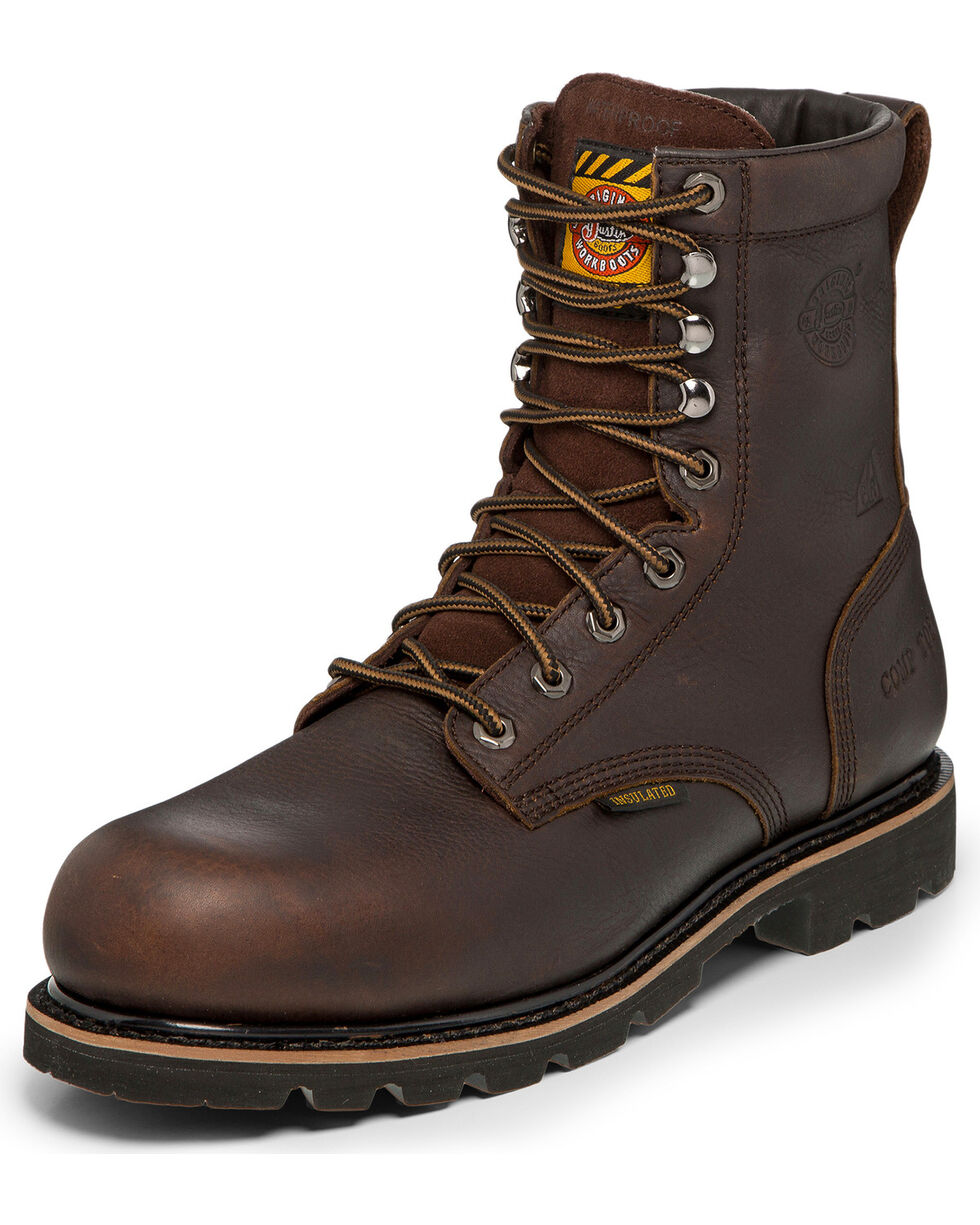 Justin Men's Miner Puncture Resistant Waterproof Insulated Lace-Up Work Boots - Nano Composite Toe , Brown, hi-res
