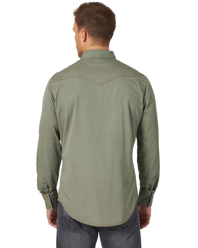 Wrangler Retro Premium Men's Green Solid Long Sleeve Western Shirt , Green, hi-res