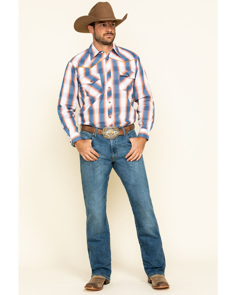 Cowboy Hardware Men's Hombre Plaid Long Sleeve Western Shirt , Slate, hi-res