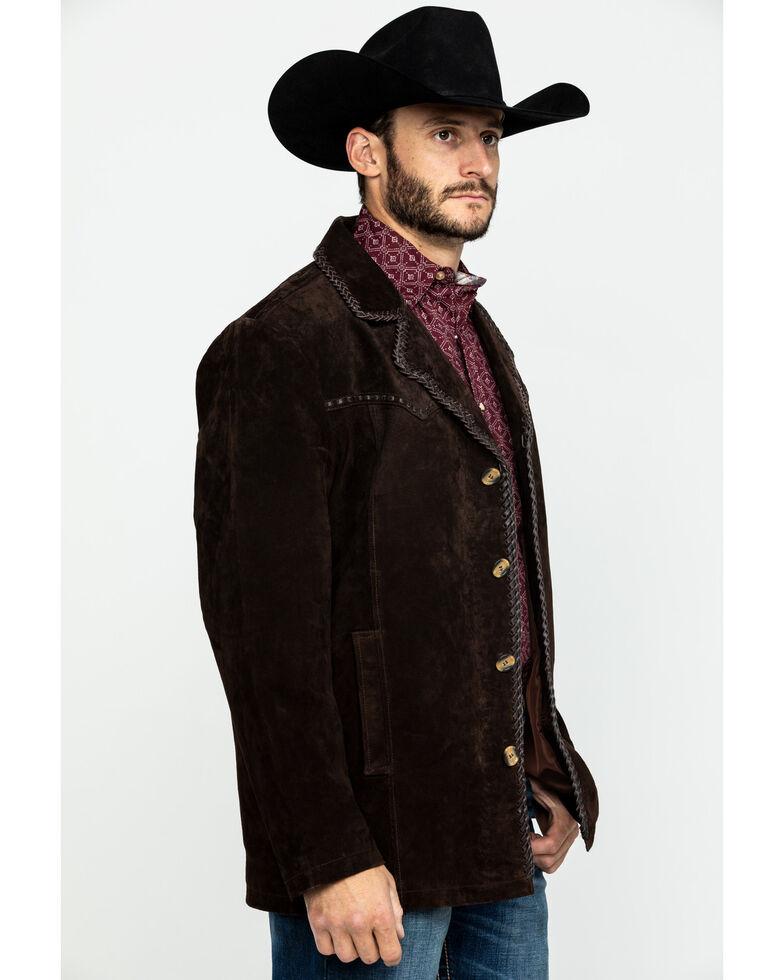 Scully Leatherwear Men's Suede Pick Stitch Car Coat , Dark Brown, hi-res