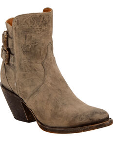 Lucchese Women's Handmade Catalina Distressed Leather Booties - Round Toe , Grey, hi-res