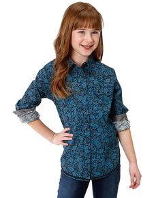 Roper Girls' Paisley Printed Snap Long Sleeve Shirt, Blue, hi-res
