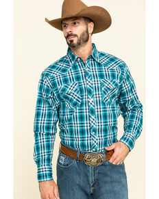 Wrangler 20X Men's Advanced Comfort Green Plaid Long Sleeve Western Shirt , Green, hi-res