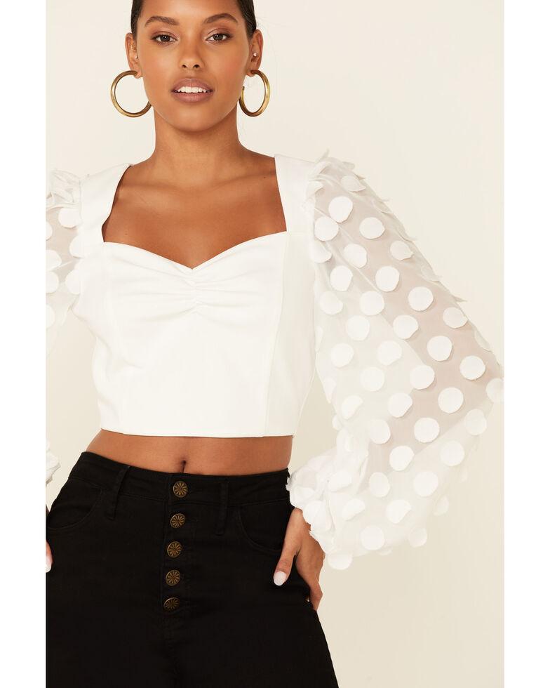 Flying Tomato Women's White Clip Dot Long Sleeve Back-Zip Crop Top, White, hi-res