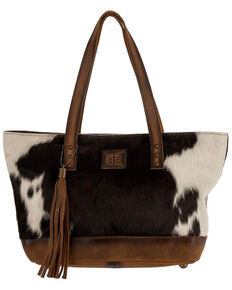 STS Ranchwear Women's Classic Cowhide Tote, Black, hi-res